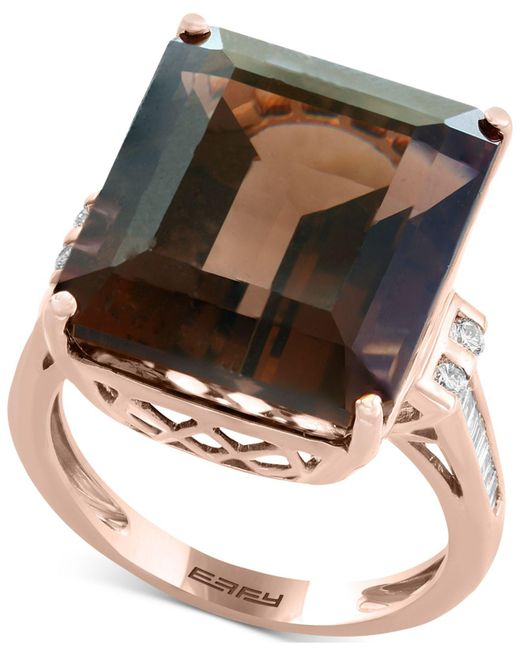 Effy Collection | Metallic Smoky Quartz (16-9/10 Ct. T.w.) & Diamond (1/5 Ct. T.w.) Ring In 14k Rose Gold | Lyst