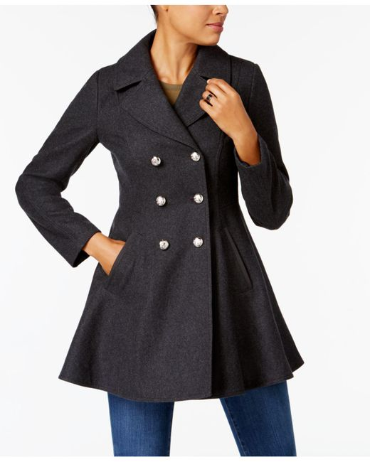 Laundry by Shelli Segal   Black Double-breasted Skirted Peacoat   Lyst