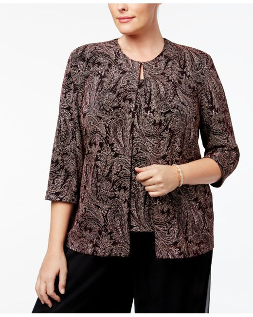 Alex Evenings | Black Plus Size Metallic Paisley-print Jacket & Shell | Lyst
