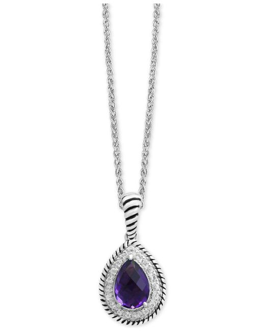 Effy Collection - Metallic Amethyst (1-3/4 Ct. T.w.) & White Sapphire (1/3 Ct. T.w.) Teardrop Pendant Necklace In Sterling Silver - Lyst