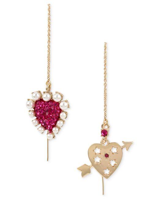 Betsey Johnson | Multicolor Gold Tone Crystal & Imitation Pearl Heart Mismatch Earrings | Lyst