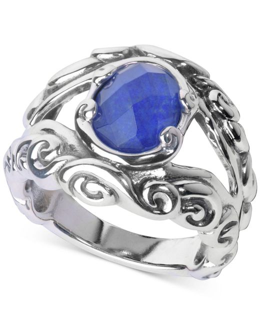 Carolyn Pollack - Metallic Lapis Lazuli/rock Quartz Openwork Statement Ring (3 Ct. T.w.) In Sterling Silver - Lyst
