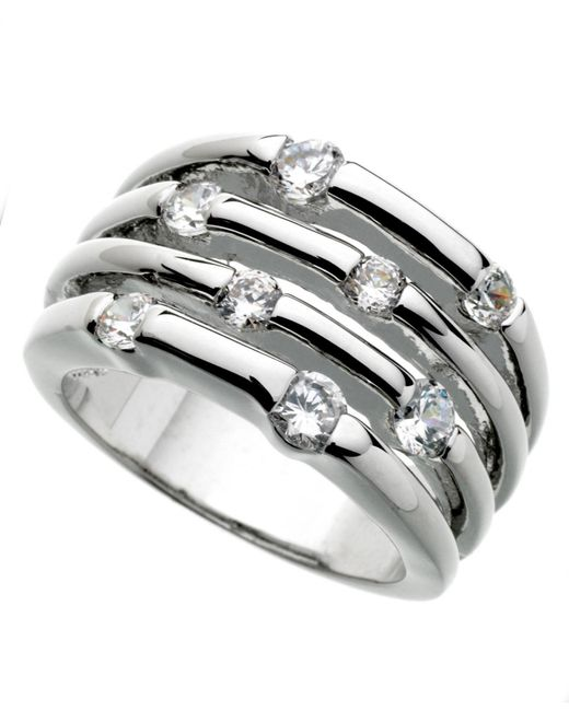 Guess - Metallic Ring, Silver-tone Four Row Crystal - Lyst