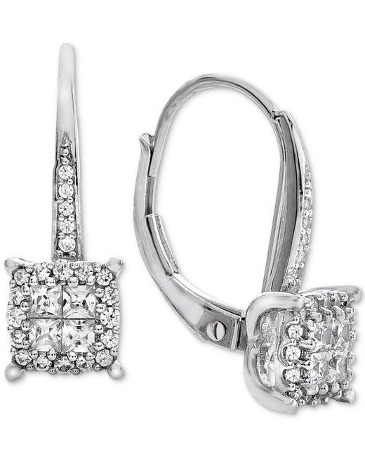 Macy's | Metallic Diamond Cluster Drop Earrings (1/2 Ct. T.w.) In 14k White Gold | Lyst