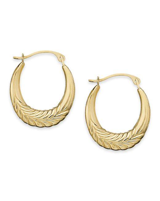 Macy's - Metallic 10k Gold Earrings, Chevron Hoop Earrings - Lyst