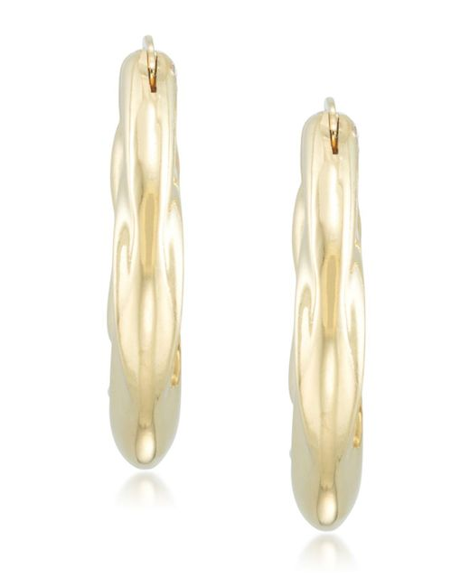 Signature Gold - Metallic Tm Diamond Accent Draped Oval Hoop Earrings In 14k Gold Over Resin - Lyst