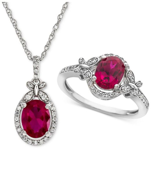 Macy's - Metallic Lab Created Ruby (2-1/2 Ct. T.w.) & White Sapphire (3/4 Ct. T.w.) Pendant Necklace & Ring In Sterling Silver - Lyst
