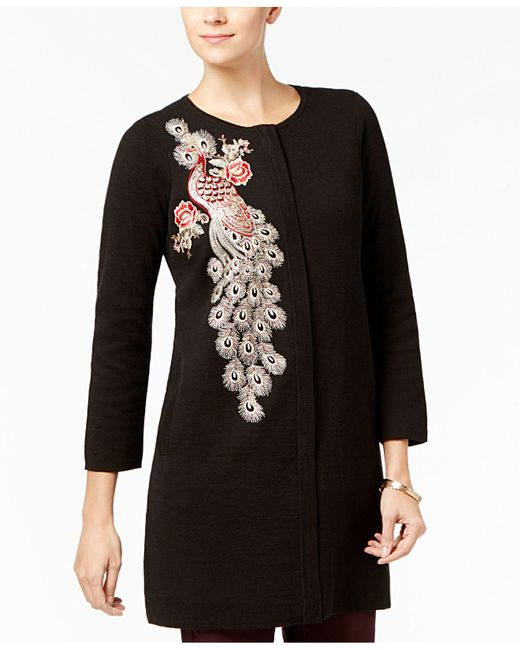 Alfani | Black Embellished Sweater Coat | Lyst