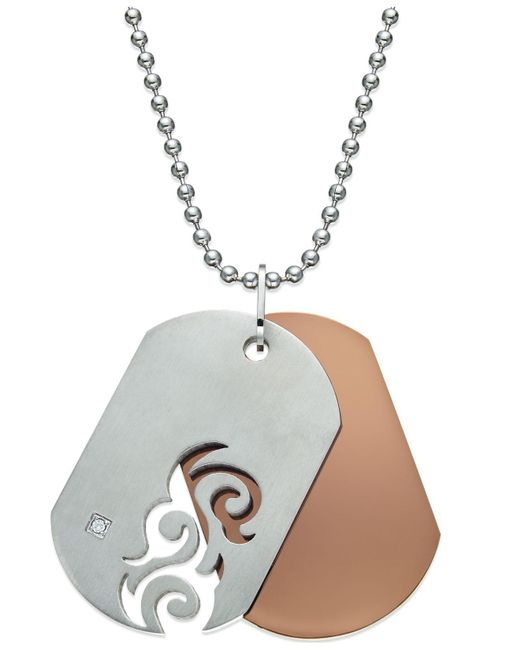 Macy's - Metallic Men's Diamond Accent Cutout Dog Tag Necklace In Stainless Steel - Lyst