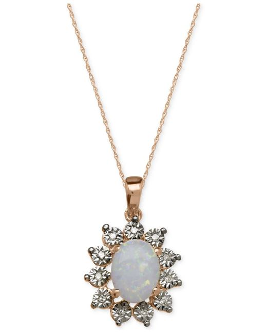 Macy's - Metallic Opal (3/4 Ct. T.w.) And Diamond Accent Pendant Necklace In 14k Rose Gold - Lyst
