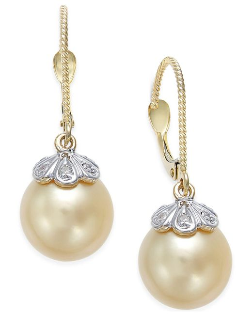 Macy's - Natural Cultured Golden South Sea Pearl (10mm) And Diamond Accent Earrings In 14k Gold - Lyst