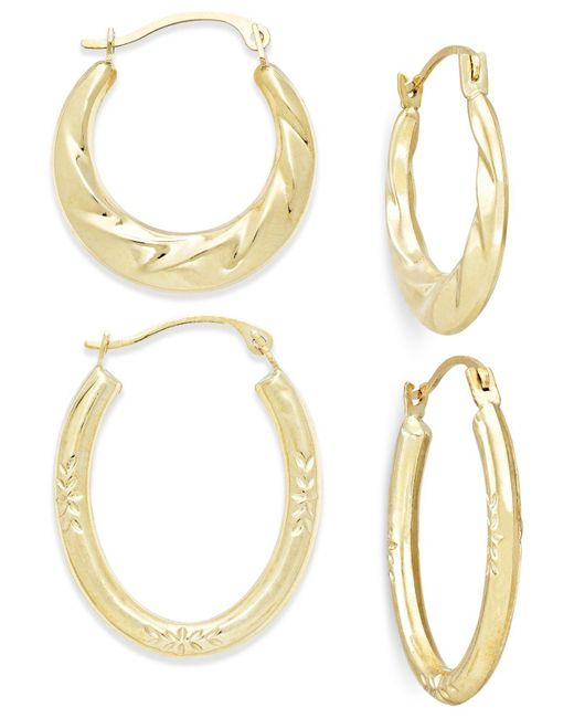 Macy's - Metallic Ribbed And Diamond-cut Hoop Earring Set In 10k Gold - Lyst