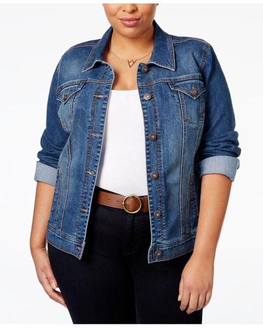 Style & Co. | Blue Plus Size Denim Jacket, Mosaic Wash | Lyst