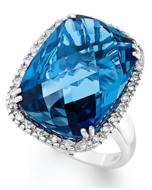Macy's - 14k White Gold Ring, London Blue Topaz (15 Ct. T.w.) And Diamond (1/5 Ct. T.w.) Rectangle Ring - Lyst