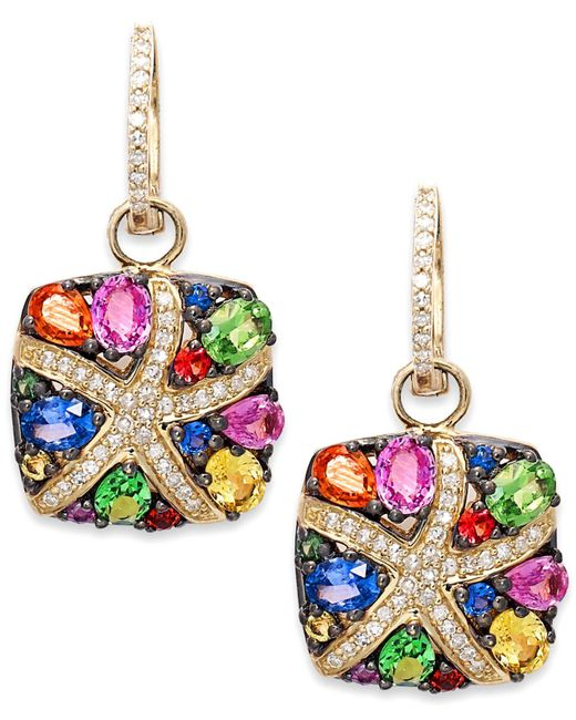 Effy Collection - Multicolor Sapphire (3-1/3 Ct. T.w.) And Diamond (1/4 Ct. T.w.) Starfish Earrings In 14k Gold - Lyst