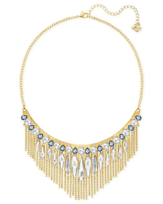 Swarovski - Metallic Gold-tone Blue & Clear Crystal Fringed Necklace - Lyst