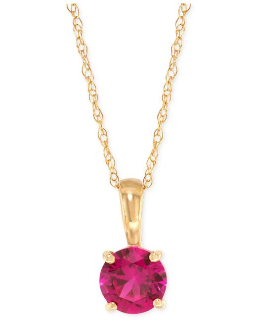 Macy's - Red Ruby Pendant Necklace (5/8 Ct. T.w.) In 14k Gold - Lyst