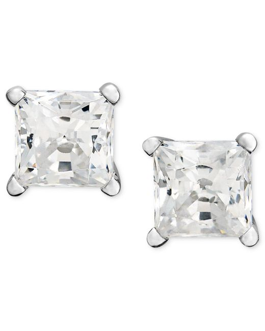 Macy's | Metallic Princess-cut Diamond Stud Earrings In 14k White Gold (1-1/4 Ct. T.w.) | Lyst