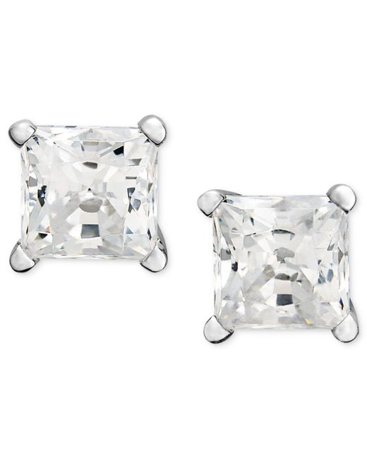 Macy's | Metallic Princess-cut Diamond Stud Earrings In 14k White Gold (1-1/4 Ct. T.w.) | Lyst