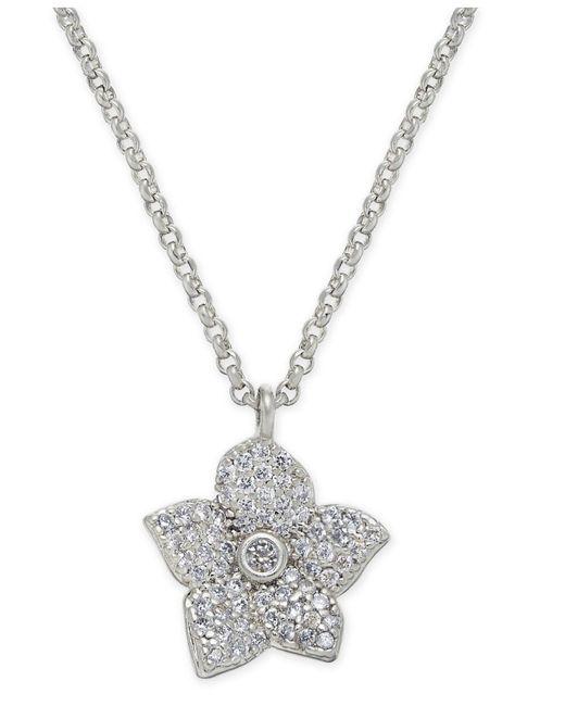 "Kate Spade - Metallic Pavé Bloom Pendant Necklace, 17"" + 3"" Extender - Lyst"