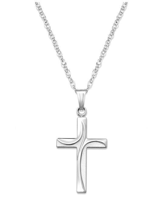 Macy's - Metallic Sterling Silver Necklace, Swirl Cross Pendant - Lyst