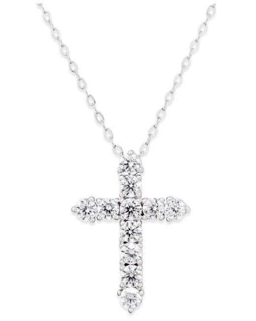 Danori - Metallic Silver-tone Crystal Cross Pendant Necklace - Lyst