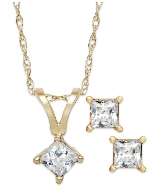 Macy's | Metallic Princess-cut Diamond Pendant Necklace And Earrings Set In 10k White Gold (1/6 Ct. T.w.) | Lyst