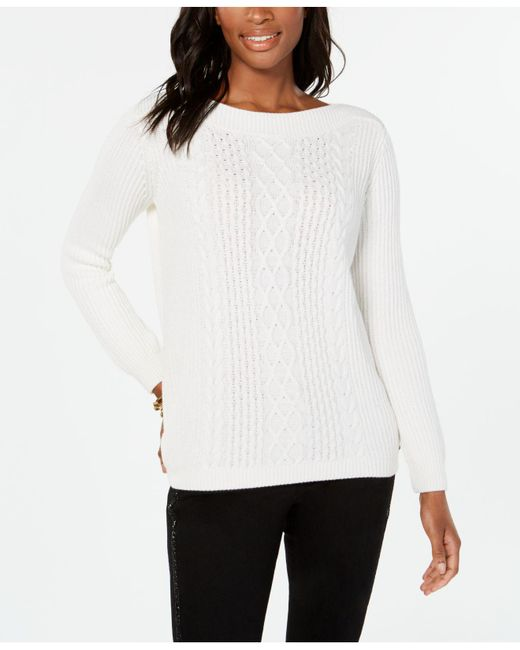 Tommy Hilfiger - White Cable-knit Sweater, Created For Macy's - Lyst