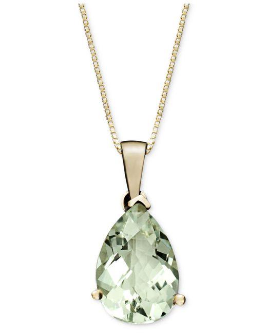 Macy's - Metallic 14k Gold Necklace, Green Quartz Pear Drop Pendant (2-3/4 Ct. T.w.) - Lyst