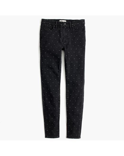 "Madewell | Multicolor Tall 9"" High-rise Skinny Jeans: Metallic Dot Edition 
