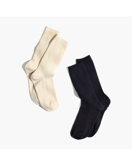 Madewell | Black Two-pack Ribbed Heather Trouser Socks | Lyst