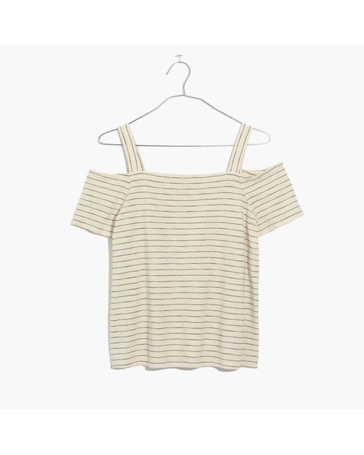 Madewell | White Cold-shoulder Tee In Bellamy Stripe | Lyst