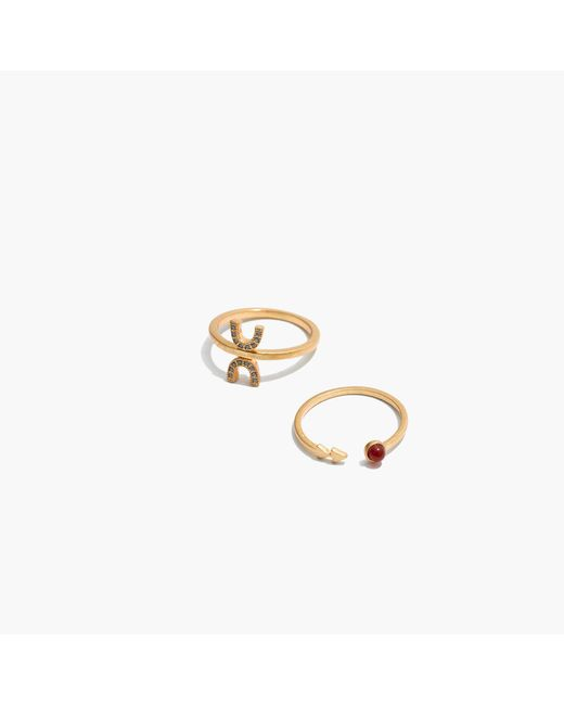 Madewell | Metallic Tiny Jewels Red Agate Ring Set | Lyst