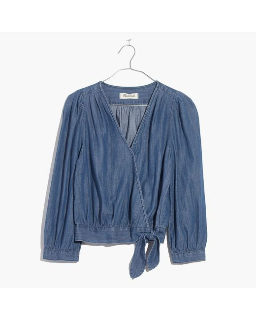 Madewell | Blue Denim Wrap Top | Lyst