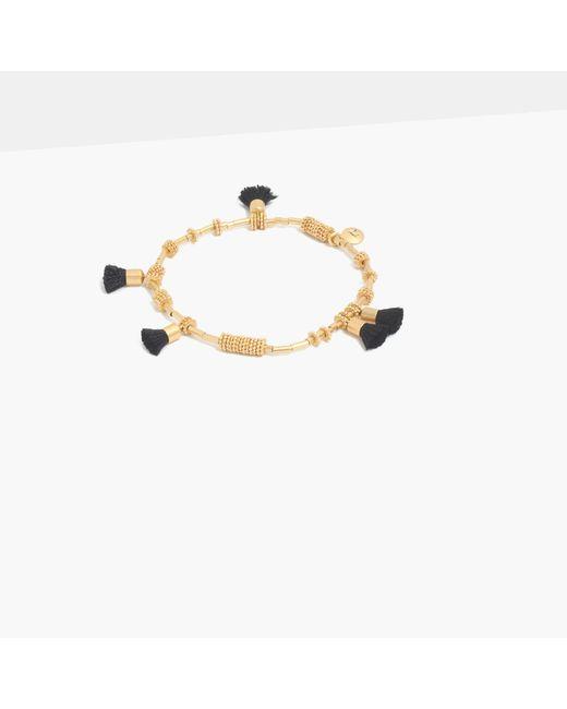 Madewell | Metallic Raffia Tassel Bracelet | Lyst