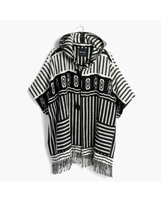 Madewell | Black Striped Blanket Poncho | Lyst