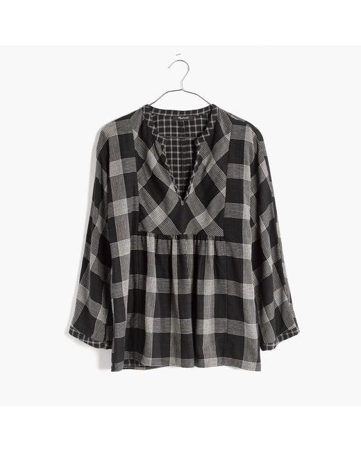 madewell boh me popover shirt in hayden plaid in black lyst. Black Bedroom Furniture Sets. Home Design Ideas
