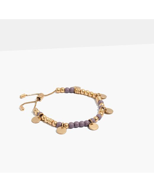 Madewell | Metallic Adjustable Beaded Chain Bracelet | Lyst