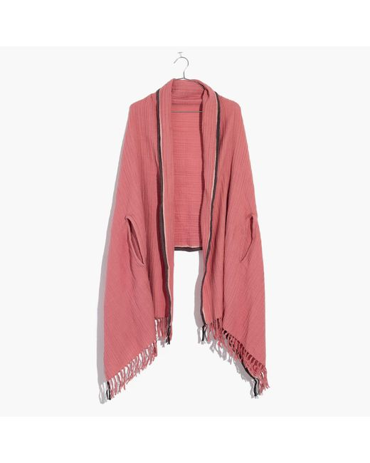 Madewell   Pink Selvedge Poncho Scarf   Lyst