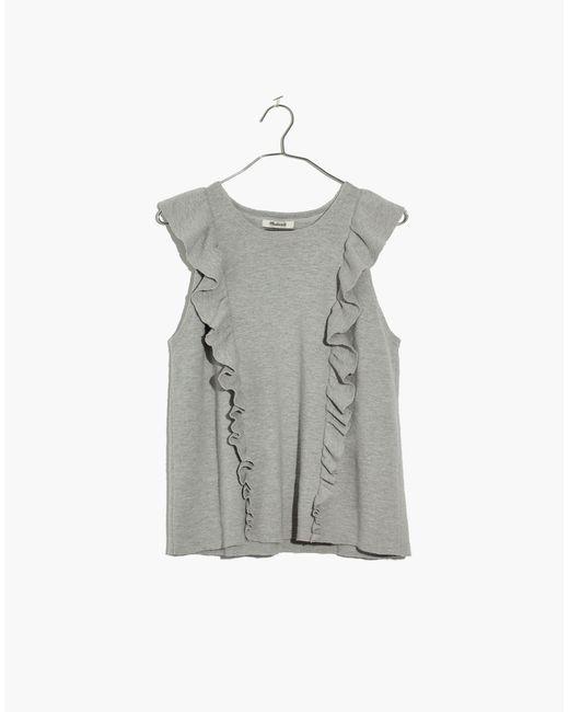 Madewell - Gray Ruffled Sweater Tank - Lyst