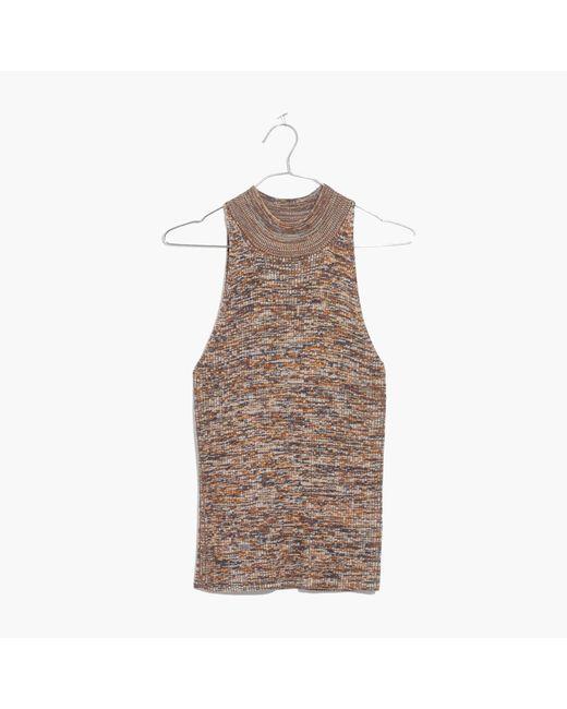 Madewell | Brown Marled Mockneck Sweater Tank | Lyst