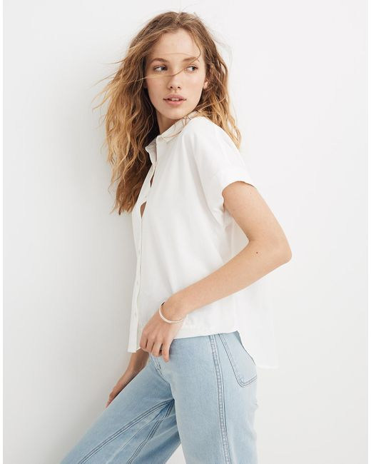 8de2ecf9 ... Madewell - White Cropped Button-down Shirt - Lyst ...