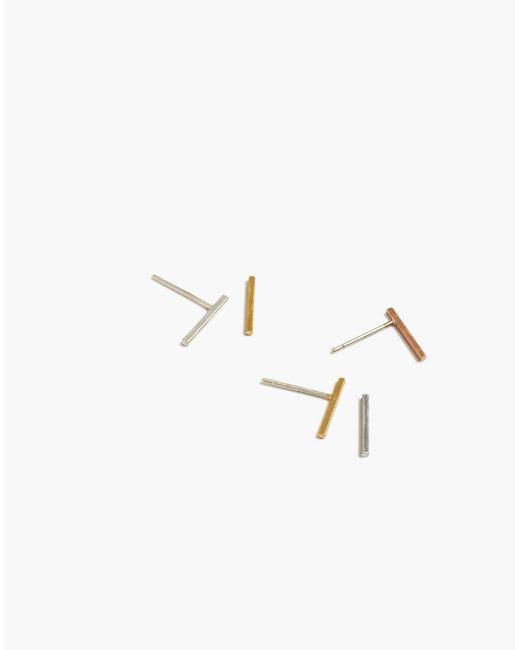 Madewell - Metallic Mix-and-match Bar Stud Earrings - Lyst