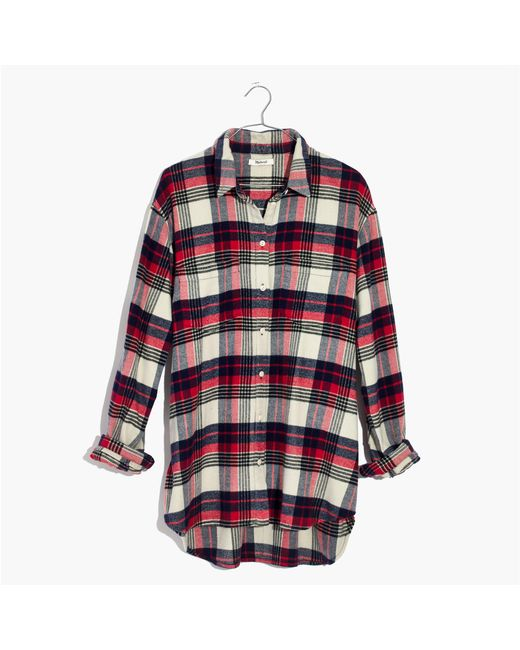 Madewell | Red Oversized Ex-boyfriend Shirt In Baker Plaid | Lyst