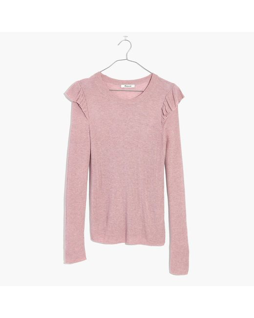 Madewell - Pink Ruffle-sleeve Pullover Sweater - Lyst