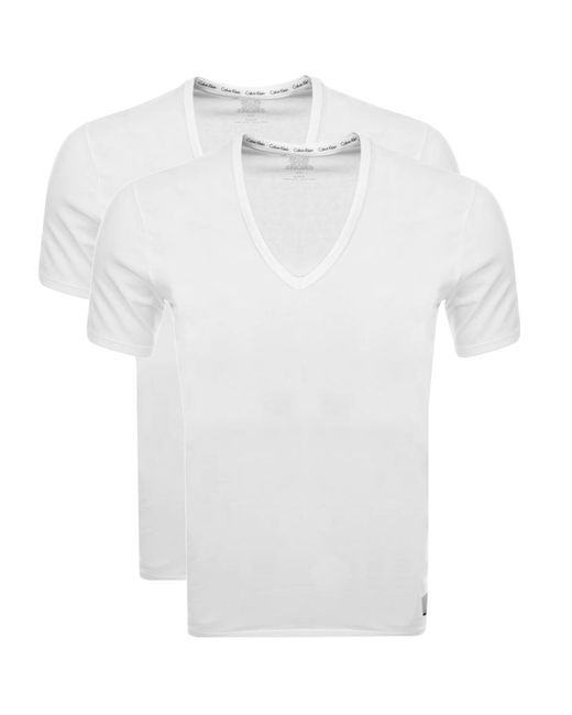 CALVIN KLEIN 205W39NYC - 2 Pack V Neck T Shirts White for Men - Lyst