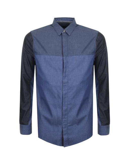 Armani Exchange - Panelled Chambray Shirt Blue for Men - Lyst