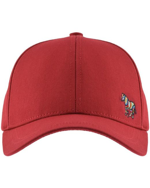 72c18bf960a Lyst - Paul Smith Red Cotton Zebra Logo Baseball Cap in Red for Men ...