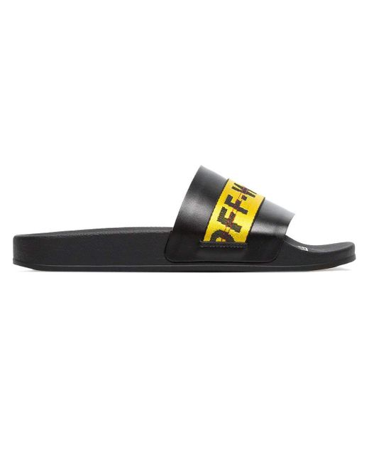 da85107141d8 Off-White c o Virgil Abloh - Black And Yellow Industrial Strap Slides for  ...