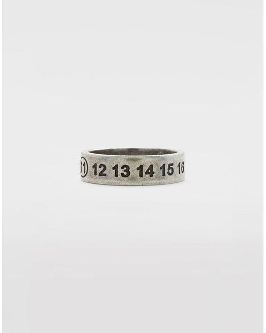 Maison Margiela Metallic Engraved Silver Logo Ring for men